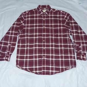Eddie Bauer Red Burgundy Plaid Button Down Shirt